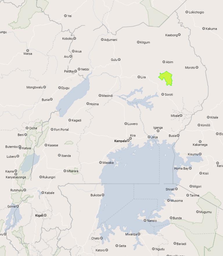 Map of Kapelebyong DLG showing the location of Kapelebyong district in Uganda