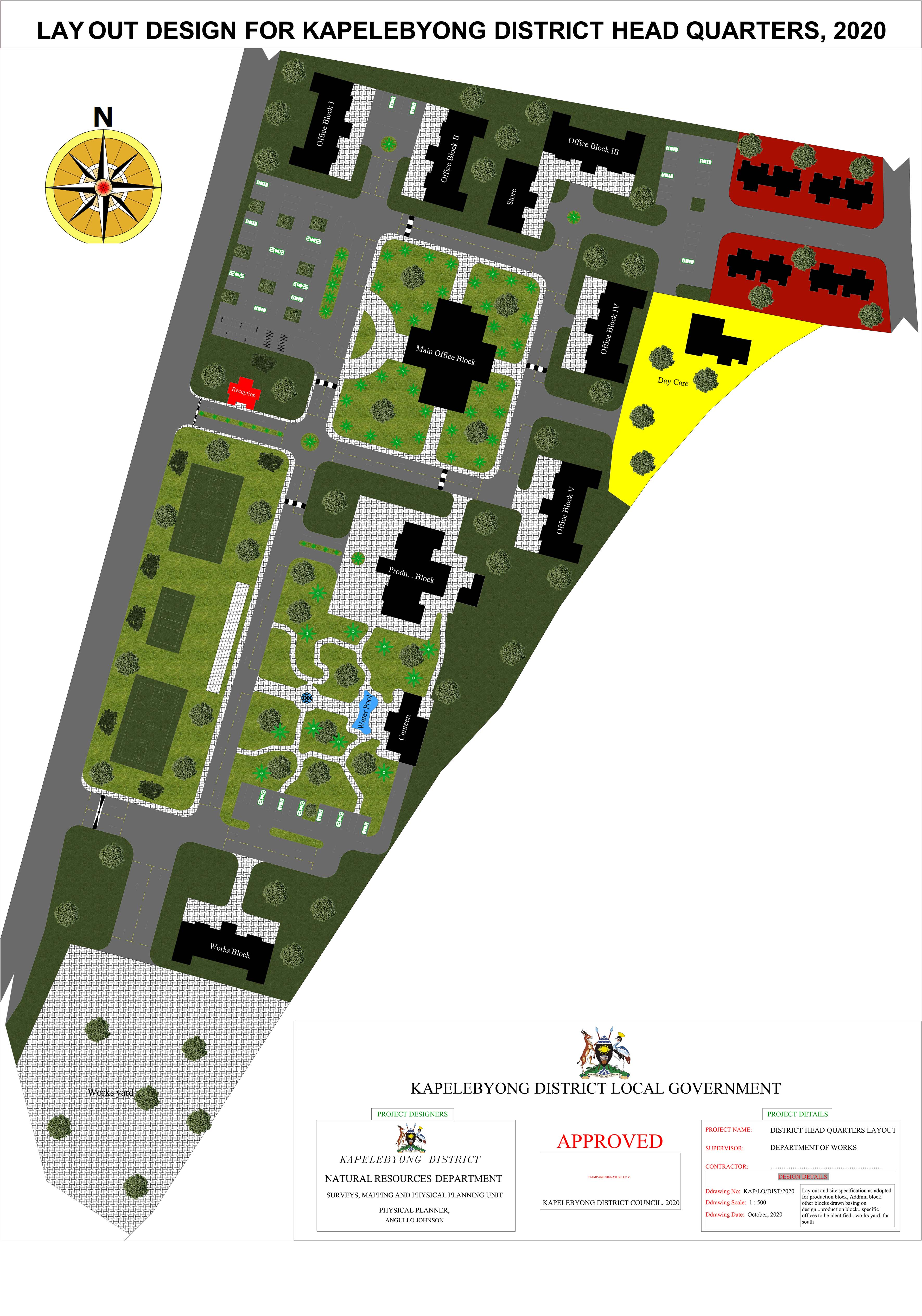 The approved Kapelebyong district headquarters layout design