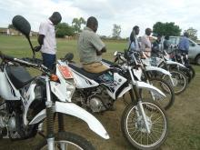 Some of the motorcycles that Kapelebyong received to improve service delivery
